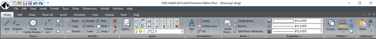 IntelliCAD Interface Ribbon com menu suspenso