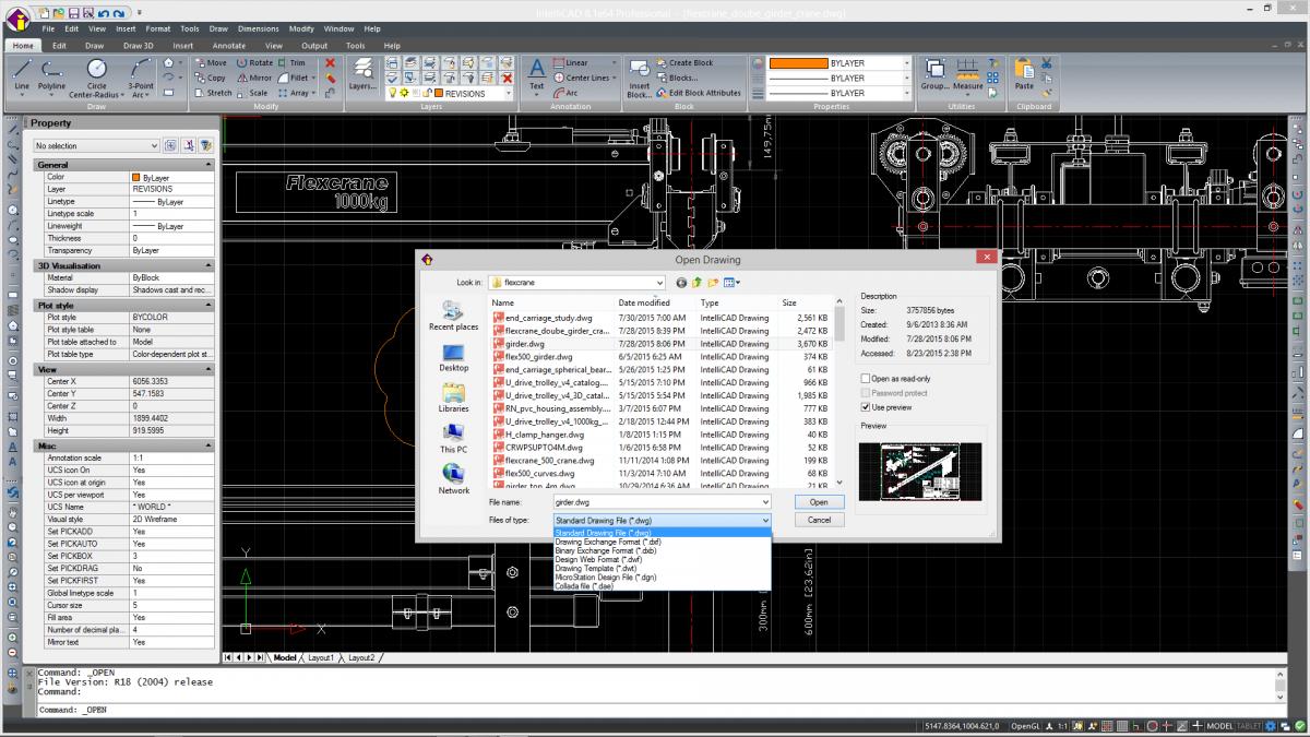 IntelliCAD - suporte a arquivos nativos <span>*.dwg</span>