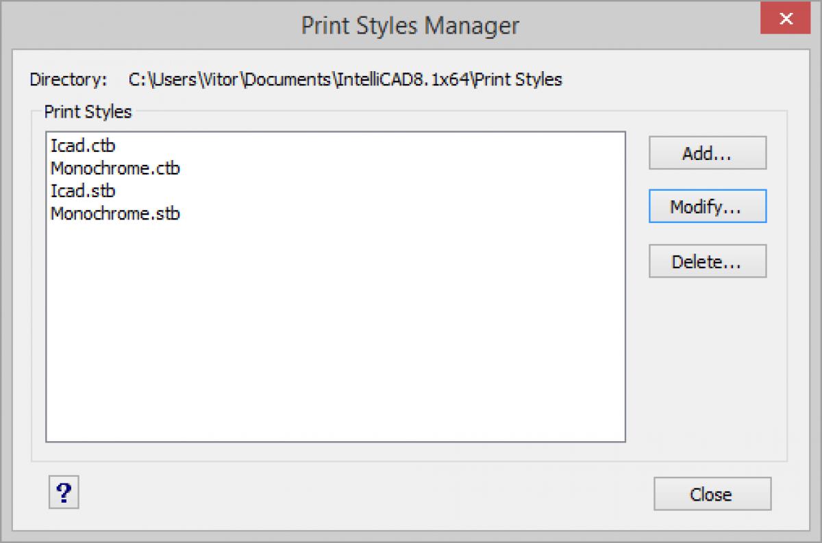 IntelliCAD Gerenciador de estilos de impressão
